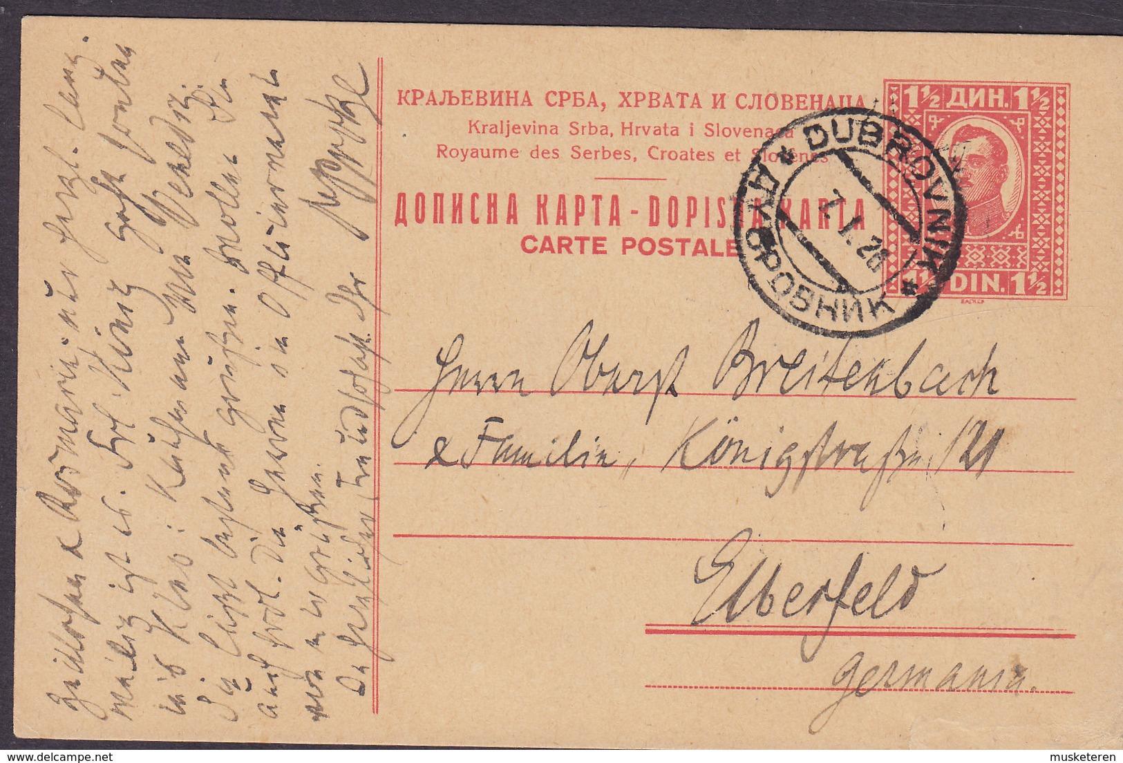 Yugoslavia Postal Stationery Ganzsache Entier 1½ Din König Alexander DUBROVNIK 1926? EBERFELD Germany (2 Scans) - Postal Stationery