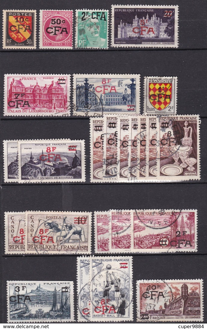C. F. A. : LOT De 95 TIMBRES  CFA   REUNION  ( Avec Doubles Et Multiples )  .  4  SCANS  . - Reunion Island (1852-1975)