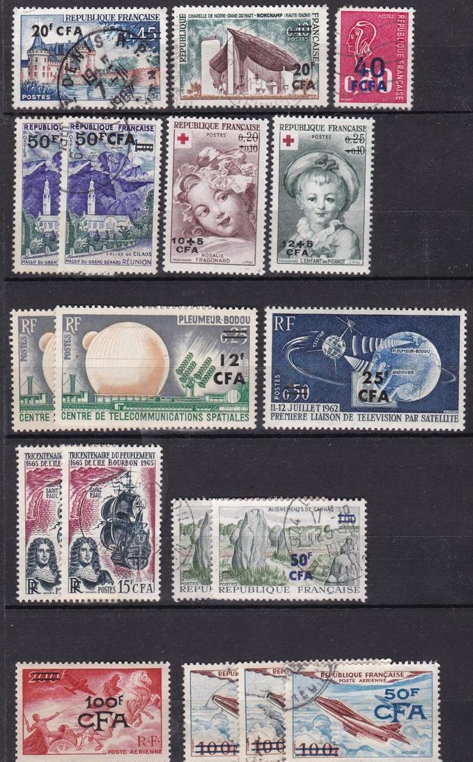 C. F. A. : LOT De 95 TIMBRES  CFA   REUNION  ( Avec Doubles Et Multiples )  .  4  SCANS  . - Réunion (1852-1975)