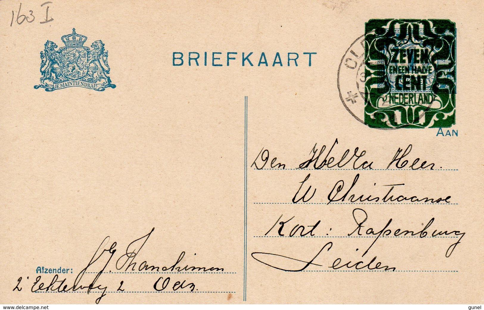 31 Dec 1921  Bk G 163  I   Van  Oldenzaal Naar Leiden - Postwaardestukken