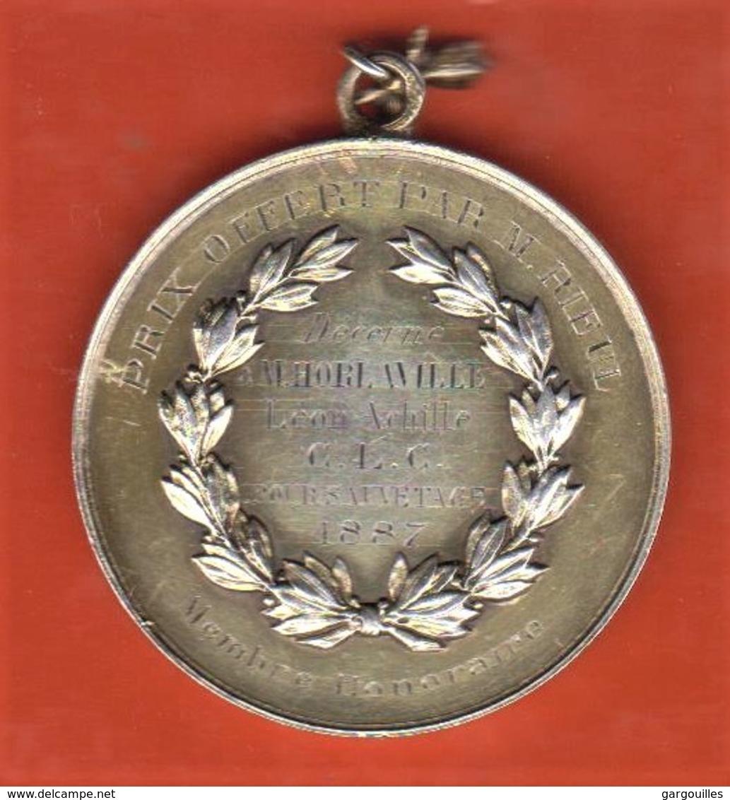 76 - Le Havre - Médaille Décerné Pour Sauvetage - 1887- Signé L.Rieul - Francia