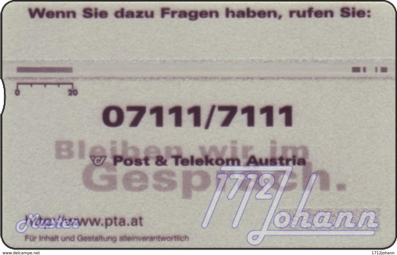 """TWK Österreich Werbekarte: """"PTA - Vorwahlen"""" Gebr. - Oesterreich"""