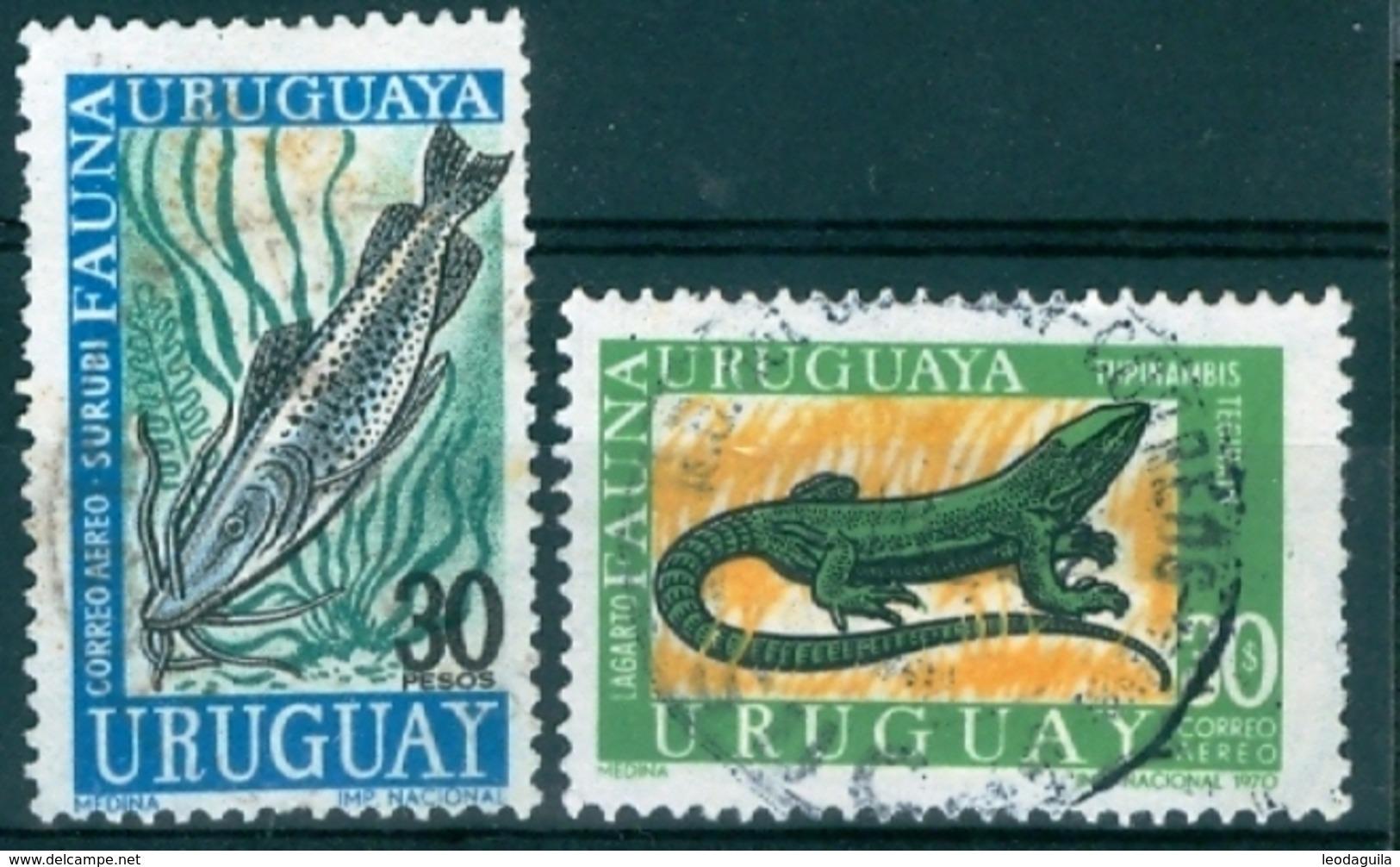 URUGUAY  - LOCAL FAUNA  FISH And  LIZARD  - USED - Uruguay