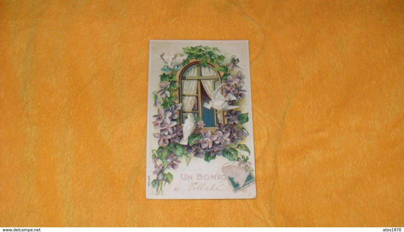CARTE POSTALE ANCIENNE CIRCULEE DATE ?.../ UN BONJOUR DE VILLABE...FENETRE FLEURS OISEAUX.. - Flowers