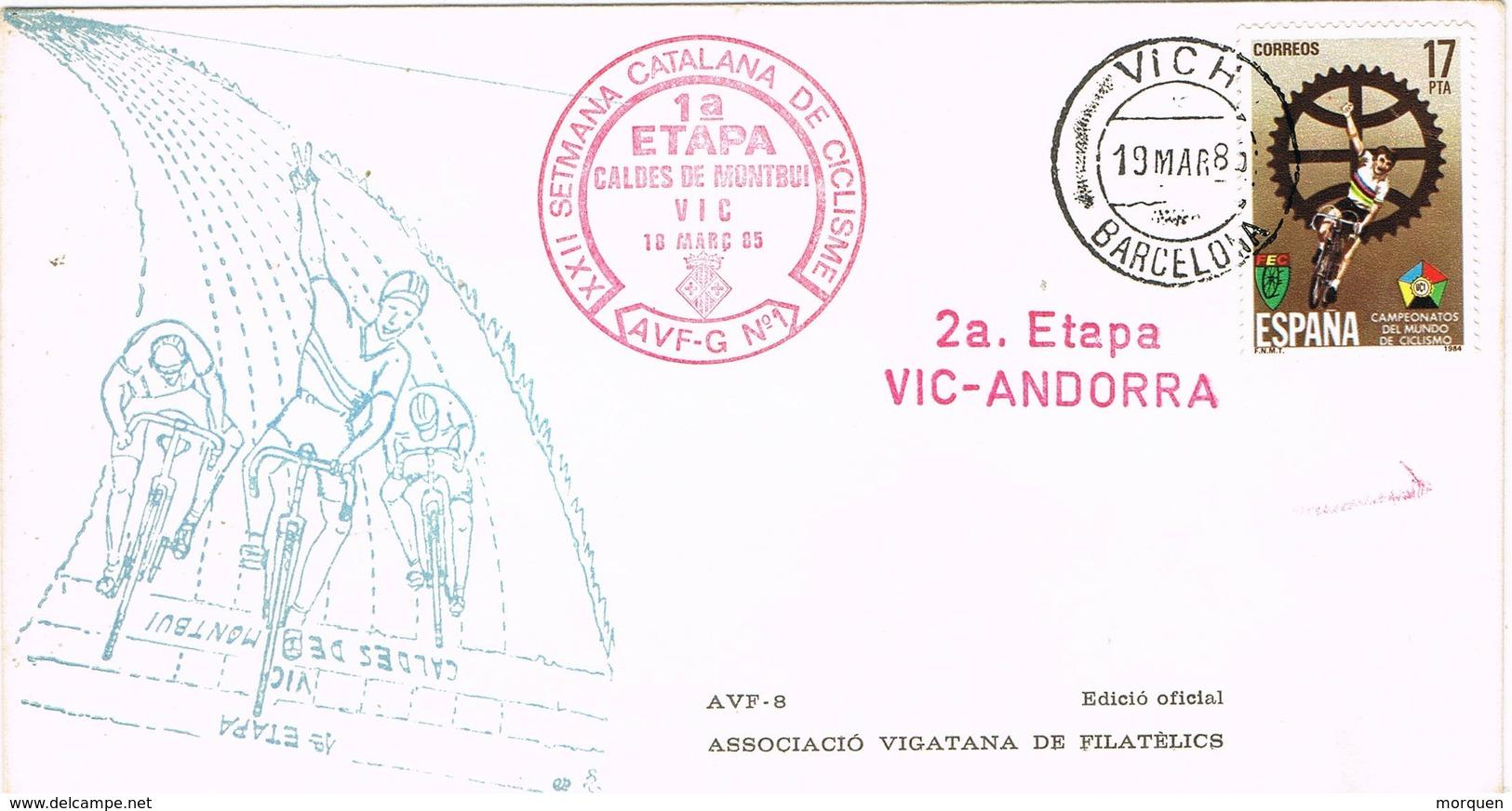 33648. Carta VICH (Barcelona) 1983, Semana Catalana Ciclismo, 2ª Etapa Vic A Andorra - 1931-Hoy: 2ª República - ... Juan Carlos I