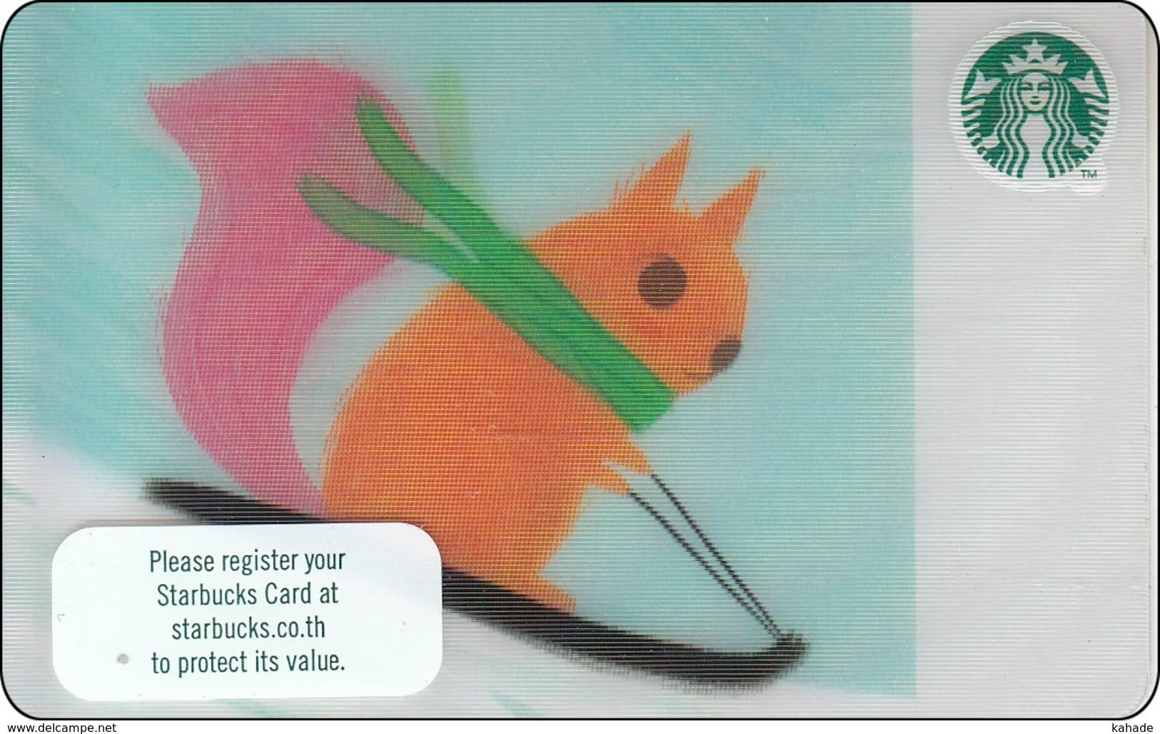 Thailand Starbucks Card Squirrel On Sledge (Lenticular) 2018 - 6156 - Gift Cards