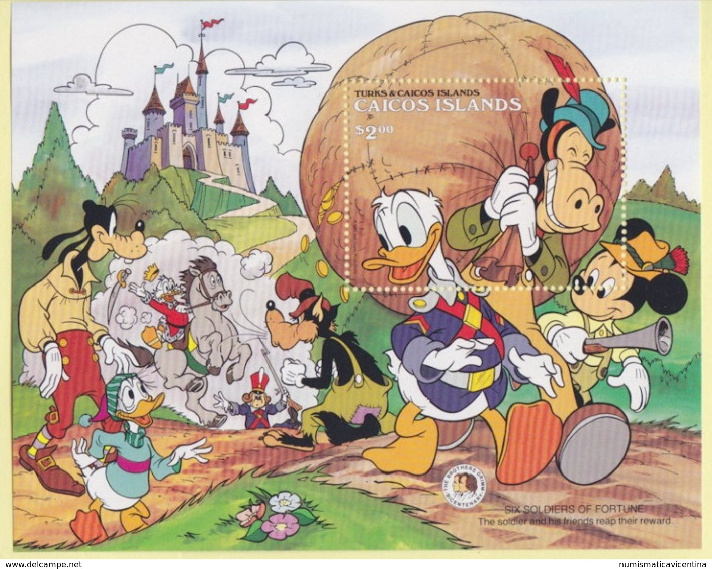 Disney Turks & Caicos Islands BROTHER GRIMM Series 2 $ SHEET MNH - Disney