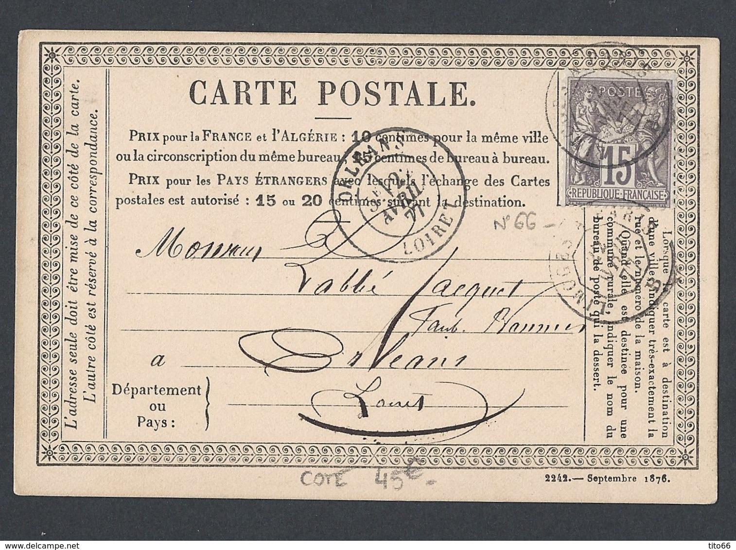 Sage Y/T 77 N/U Sur CP Officielle (Storch 26) De Issoudun Vers Orléans TAD Ambulant Jours 22/4/1877 - Marcophilie (Lettres)