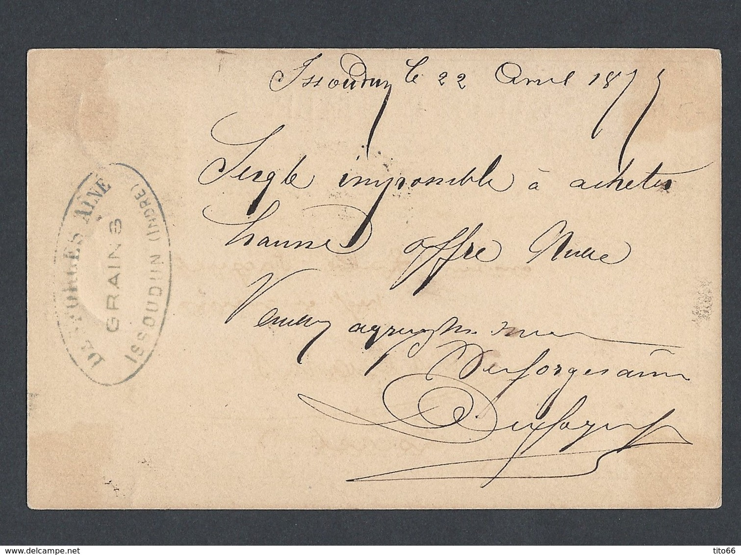 Sage Y/T 77 N/U Sur CP Officielle (Storch 26) De Issoudun Vers Orléans TAD Ambulant Jours 22/4/1877 - 1877-1920: Période Semi Moderne