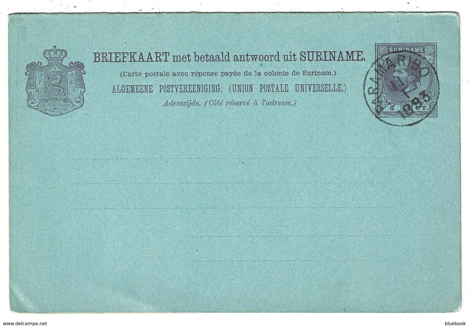 Ref 1311 - 1893 Suriname Surinam Reply Paid Postal Stationery Card H&G 8 - Netherlands Interest - Surinam