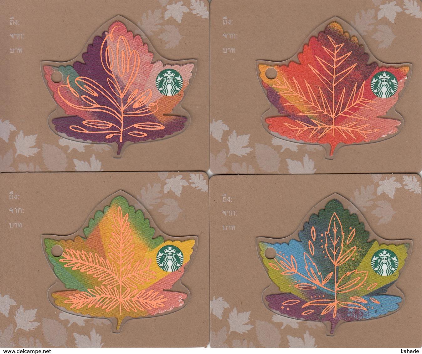 Set 4 X Thailand Starbucks Card   Leaves - 2015-6141 - Gift Cards