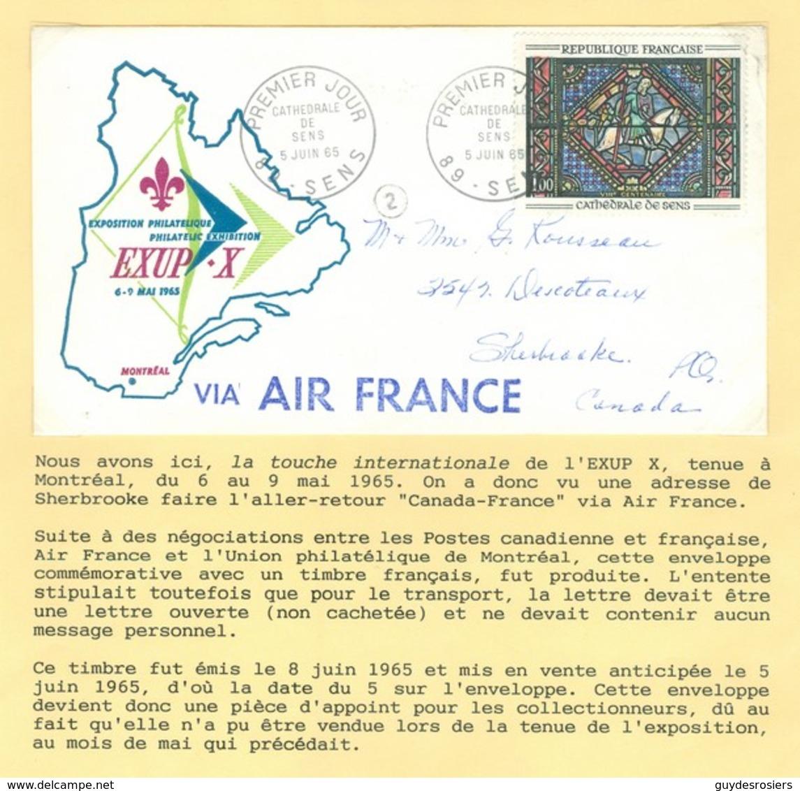 EXUP-X, Montréal 1965. Cathédrale De Sens, YT 1427, Premier Jour. Union Philatélique De Montréal (6841) - France