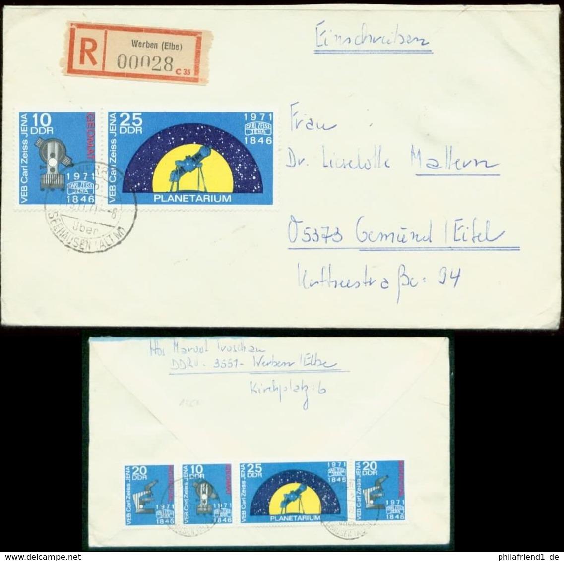 S7444 - DDR Planetarium ZD Auf R - Briefumschlag:gebraucht Werben Elbe - Gemünd Eifel 1971, Bedarfserhaltung. - [6] Democratic Republic