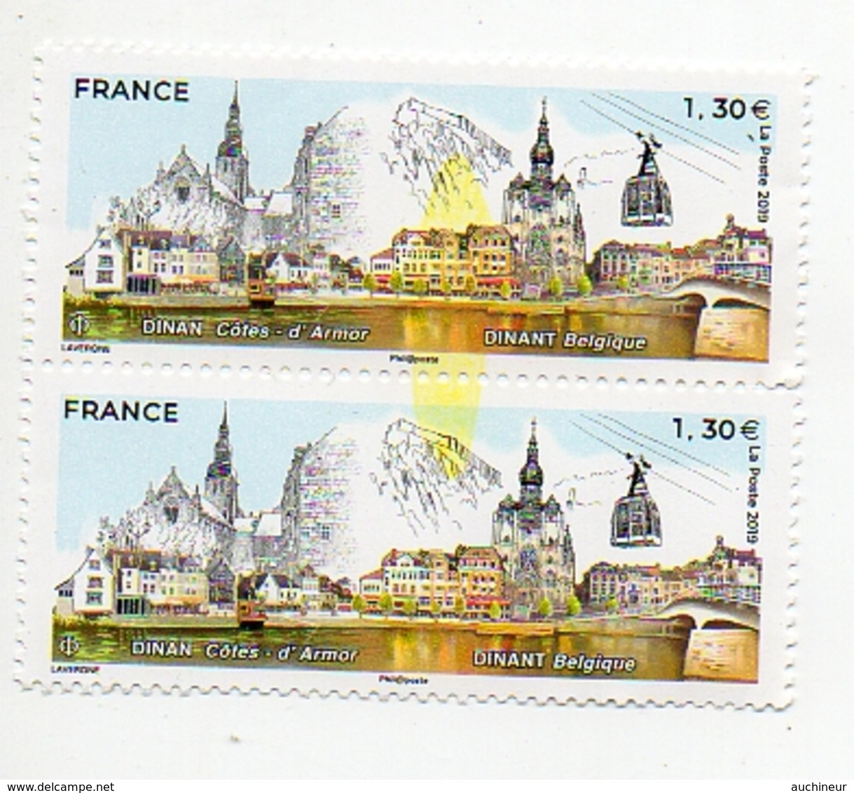 Variété 2019 France Europe Dinan Dinant, Coulure Central Couleur Jaune Sur 2 Timbres Attenant - Varietà: 2010-.. Nuovi