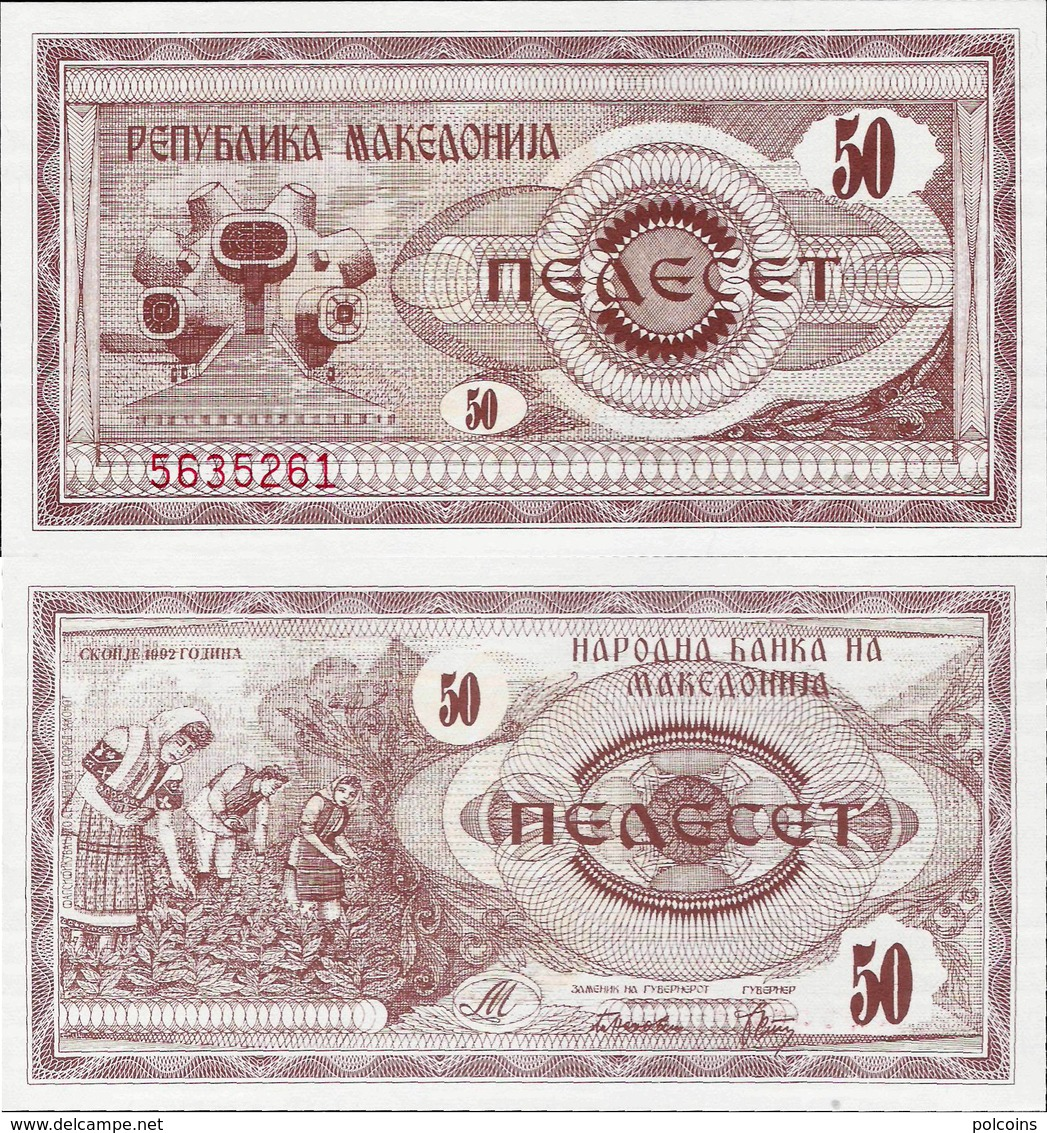 Macedonia 1992 - 50 Dinars - Pick 3 UNC - Macedonia