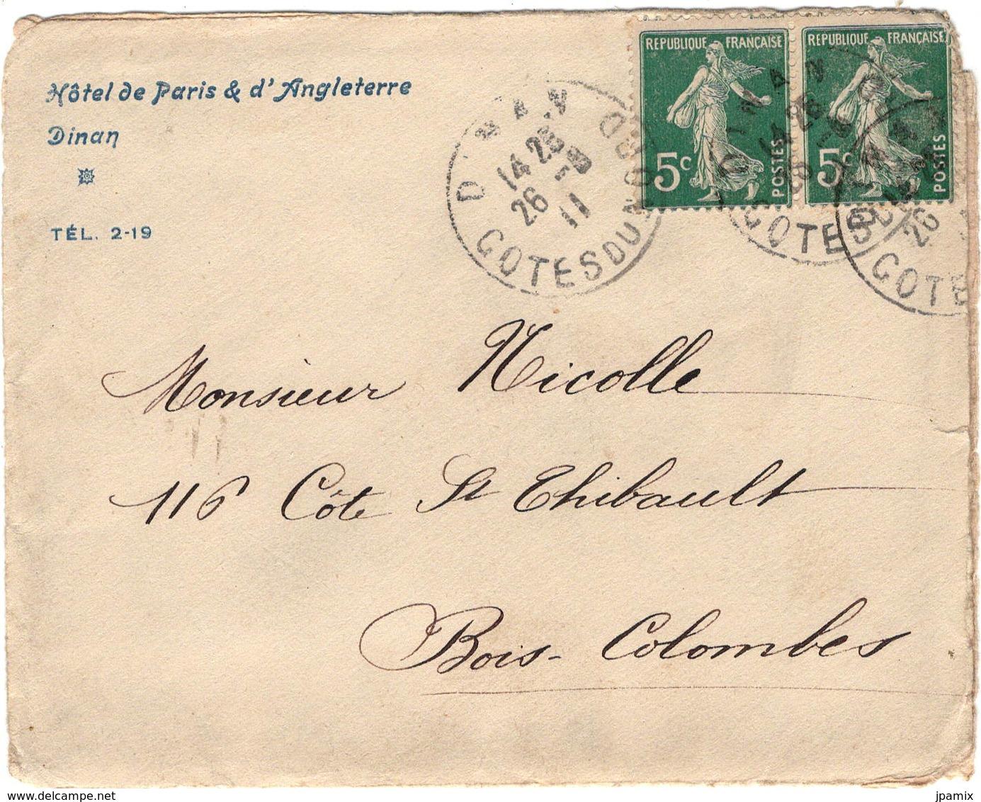 Enveloppe Timbrée Avec Entête Publicitaire : Hôtel De Paris & D'Angleterre à Dinan 1911 - Vieux Papiers