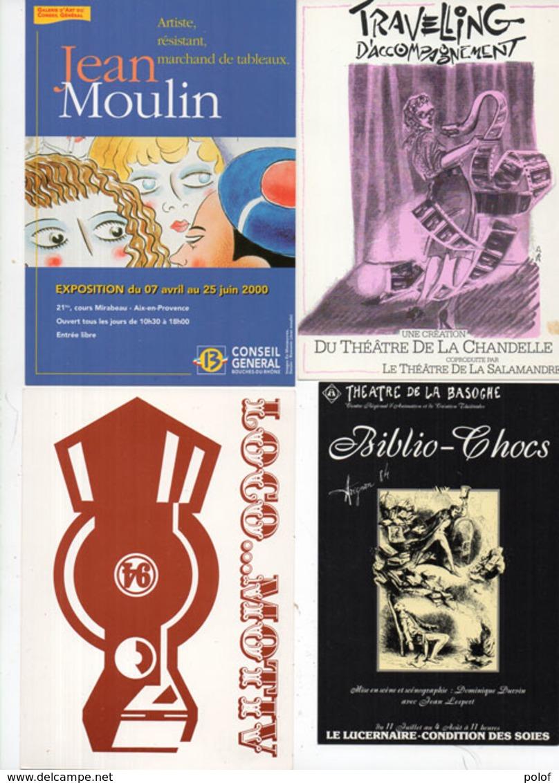 PUB - 4 CP - Travelling D' Accomagnement - Expo Jean Moulin - Logo.. Motiv - Biblio Chocs (115091) - Pubblicitari