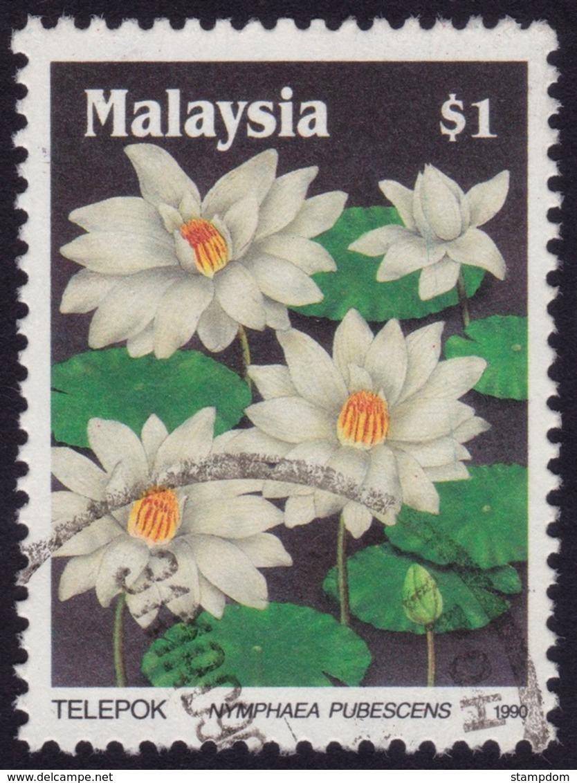 MALAYSIA 1990 Wildflowers $1 Sc#419 - USED @PM102 - Malesia (1964-...)