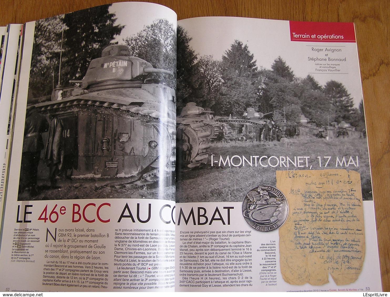 GBM Guerre Blindés Matériel N° 94 Guerre 40 45 Mai 40 46 BCC Montcornet Ardennes Chars B 9 è Armée Meuse Lances Fascines - Guerre 1939-45