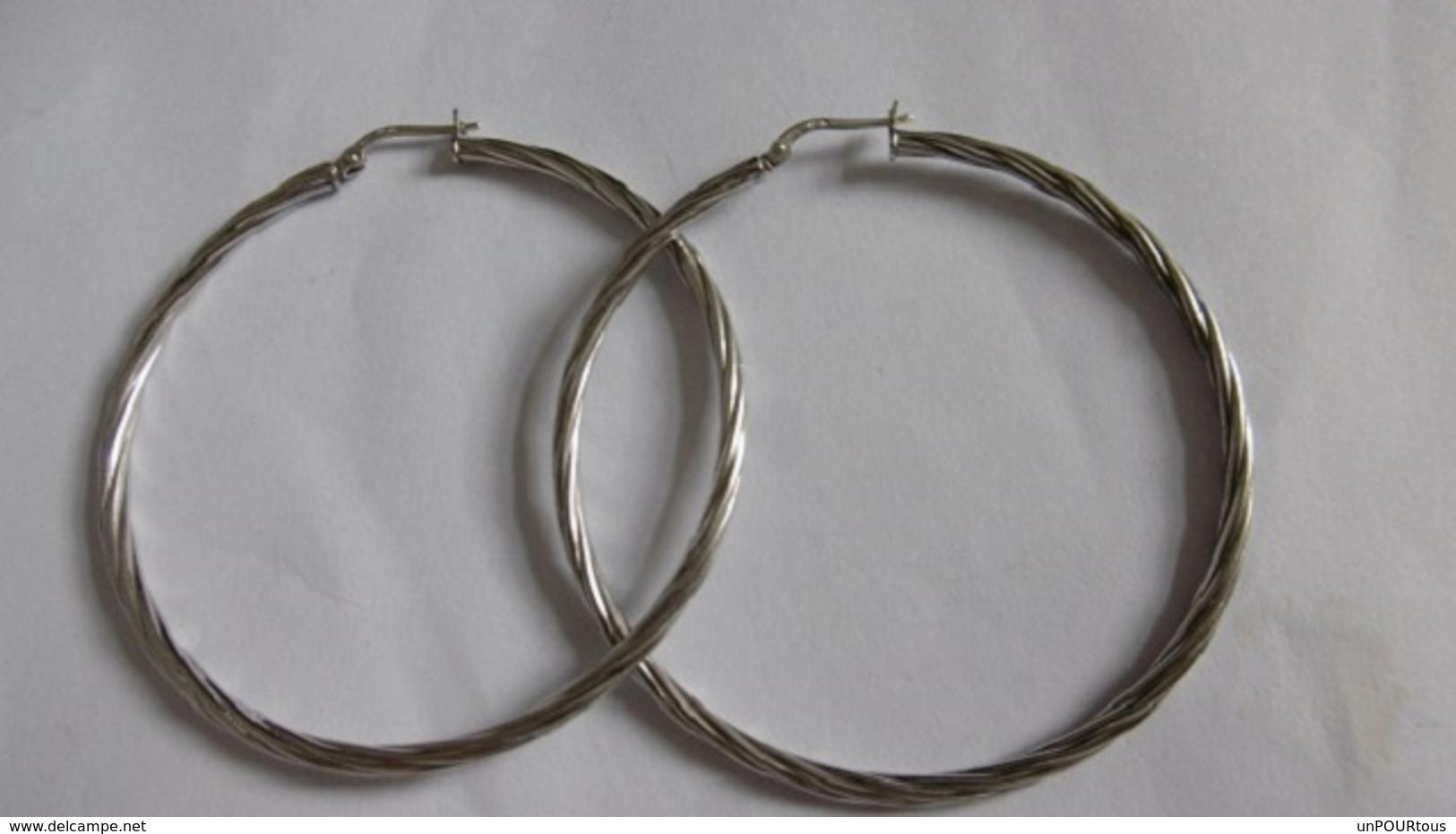 Créoles En Argent Massif Diamètre:5.5 Cm - Earrings