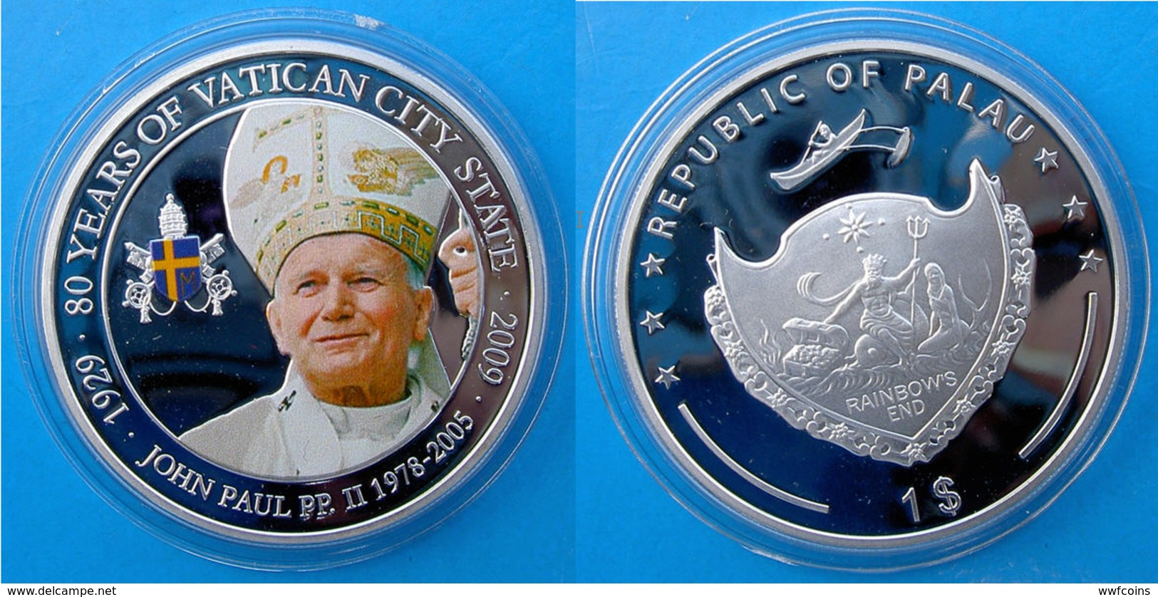 PALAU 1 $ 2009 COPPER SILVER PLATED PROOF 80 Y VATICAN CITY STATE POPE JOHN PAUL II WOJTYLA GIOVANNI PAOLO I WEIGHT 26g - Palau