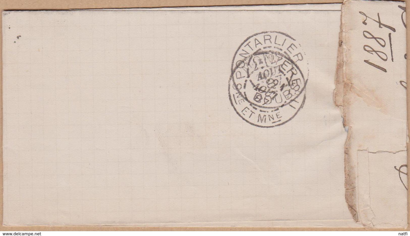 LETTRE TIMBRE 1887 PROVINS  SEINE ET MARNE A PONTARLIER  VOIR PHOTOS - 1877-1920: Période Semi Moderne