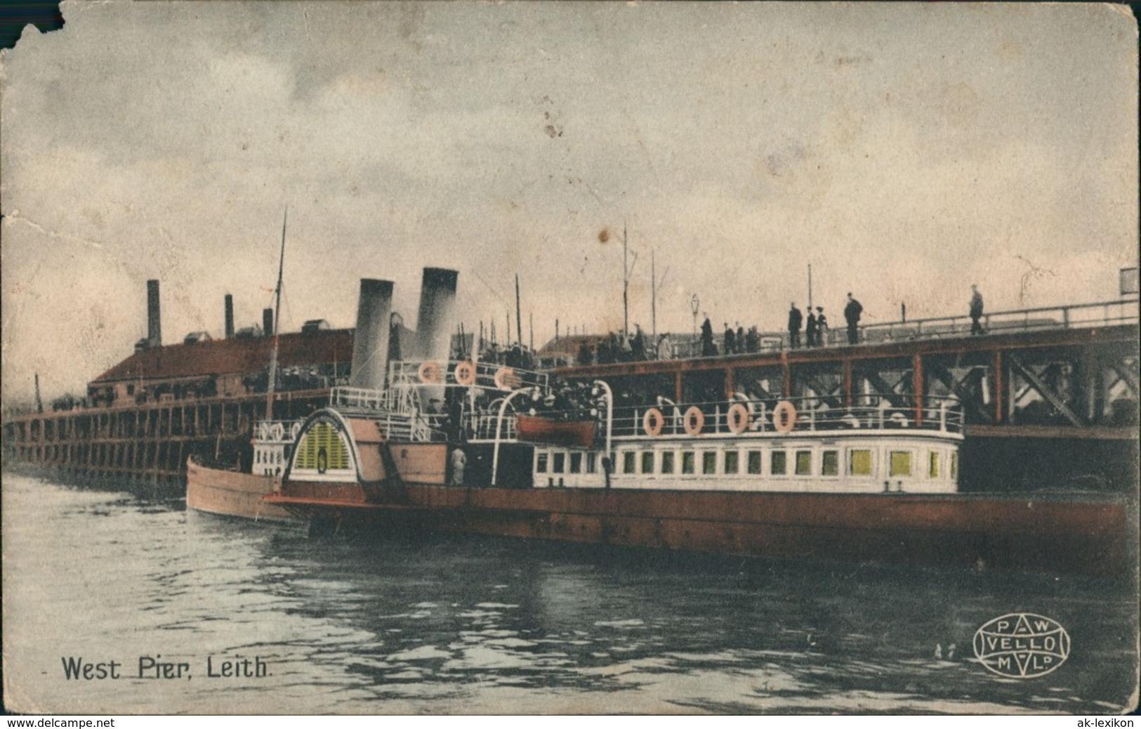 Postcard Leith (Schottland) West Pier Dampfer 1911 - Royaume-Uni