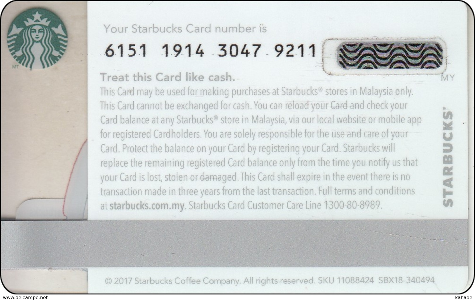 Malaysia  Starbucks Card Father Day 2017-6151 - Gift Cards