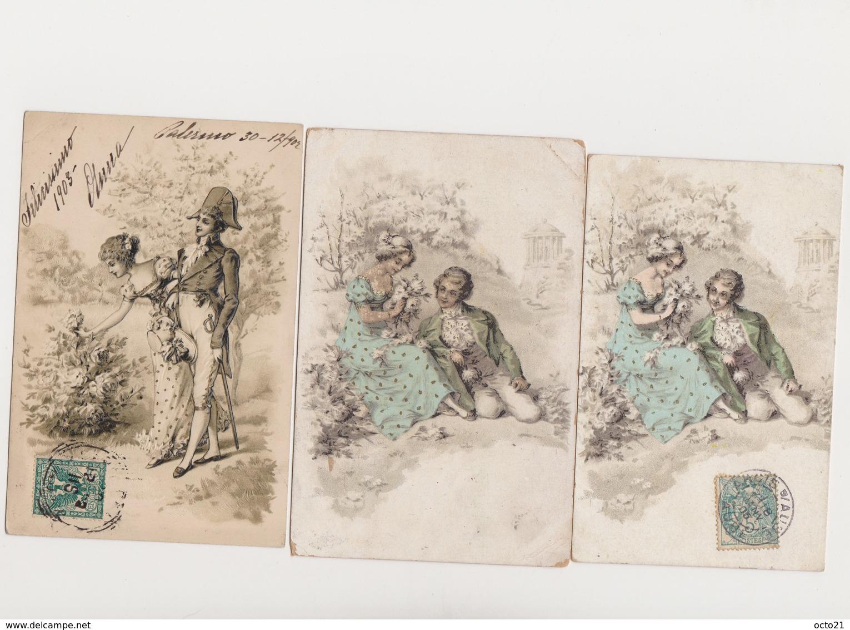 3 (+3 Même Visuel)) Cartes Fantaisie Dessinées  / Couples En Costume Directoire - Couples
