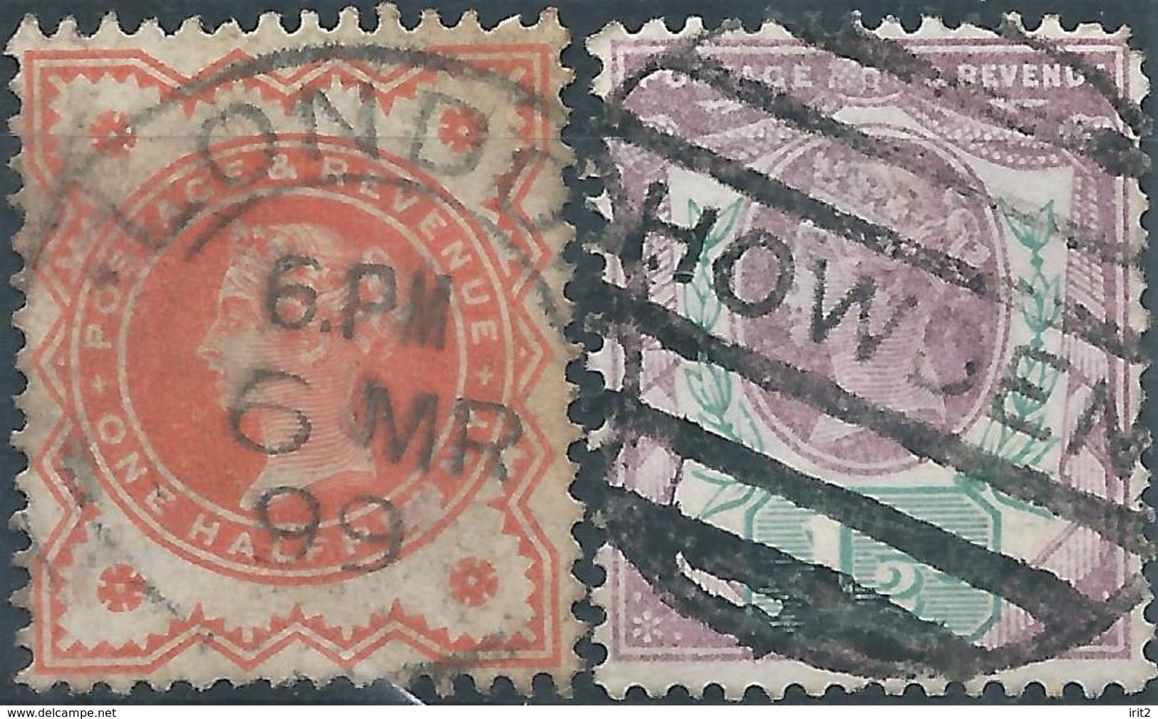 England- Gran Bretagna 1887/1892- 50th Anniversary Of The Regen - ½ P-orange Red + 1½ P Violet / Green,Used-Value €22,00 - 1840-1901 (Victoria)