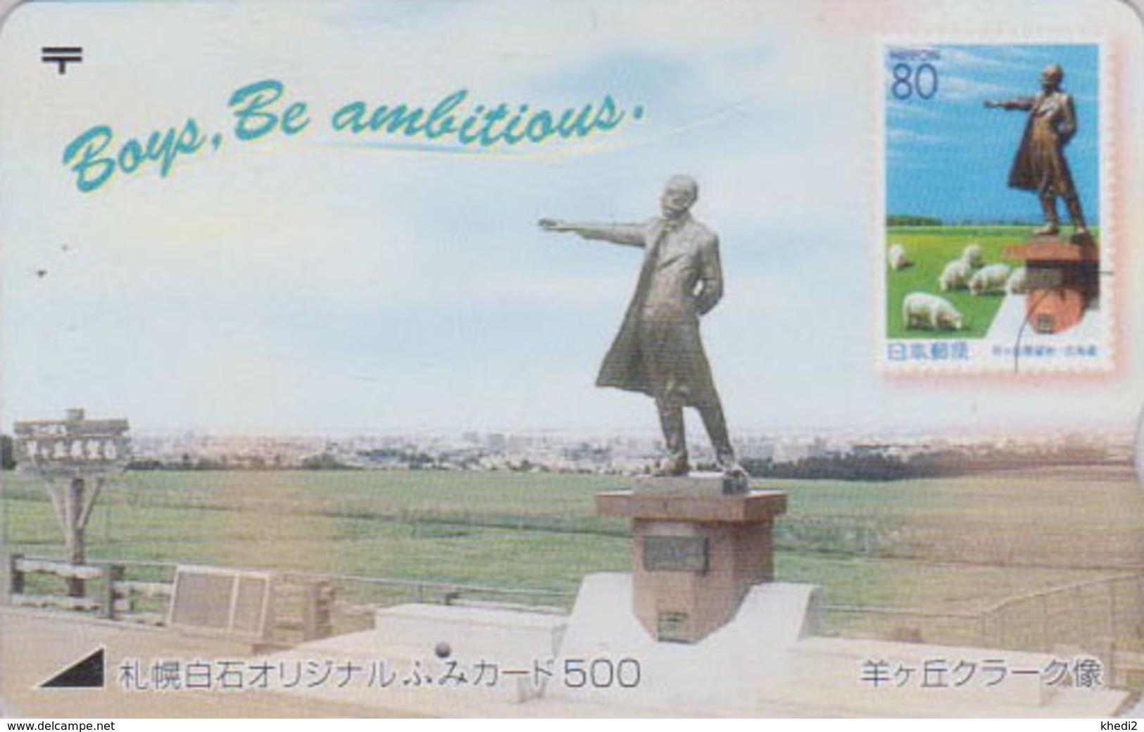 Carte Prépayée Japon - TIMBRE & Animal Mouton - Sheep STAMP On Japan Prepaid Fumi Card - Schaf Auf BRIEFMARKE  - 146 - Timbres & Monnaies