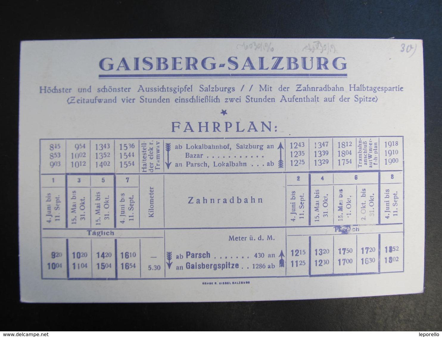 AK SALZBURG Gaisbergbahn Fahrplan Bahnhof Zahnradbahn Ca.1910 /// D*39406 - Salzburg Stadt
