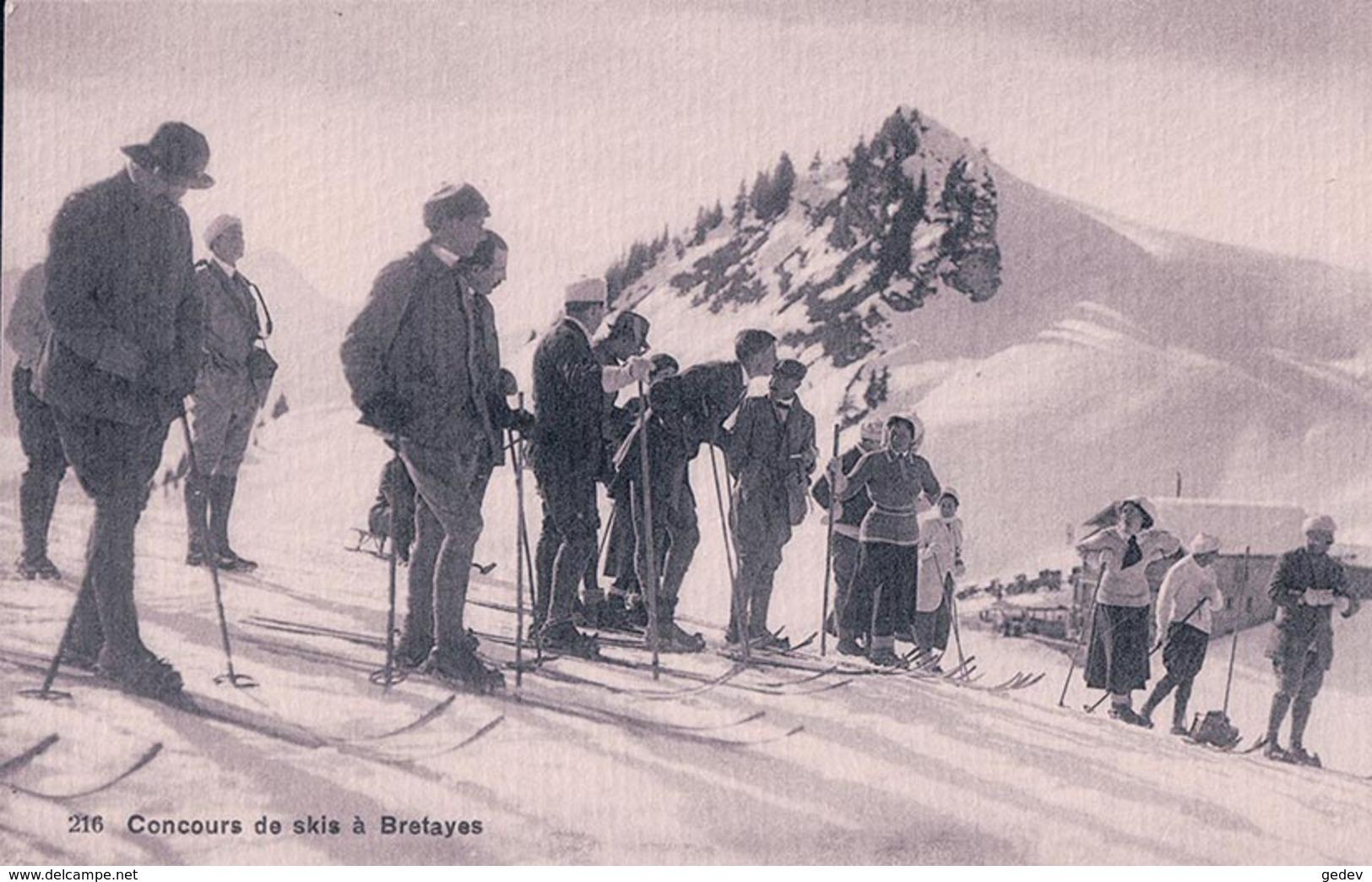 Bretayes, Sport D'Hiver, Concours De Skis + Cachet Restaurant Henri Genillard Prop. (216) - VD Vaud