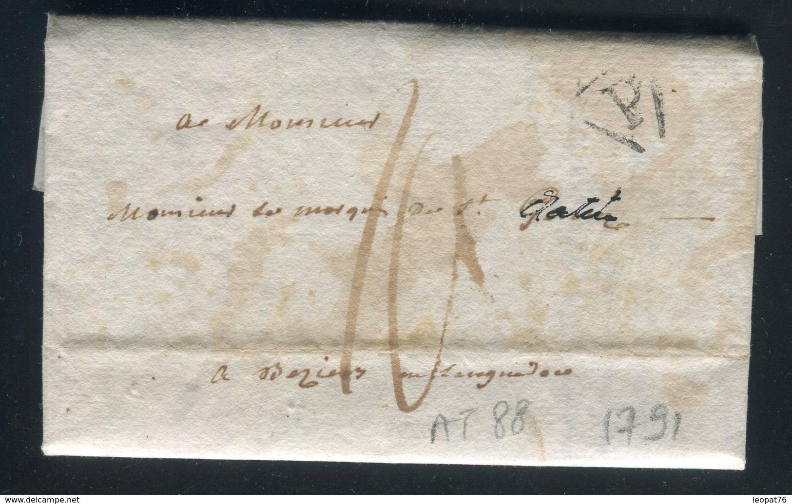 Lettre Avec Texte De Paris Pour Beziers En 1791 - Réf AT 88 - Poststempel (Briefe)