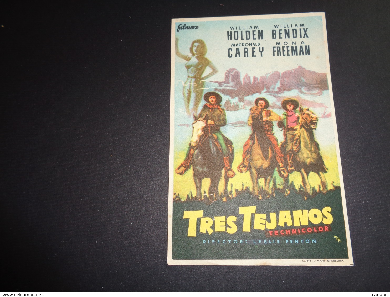 Artiste ( 258 )  Acteur - Affichette Espagnol Cinéma  Ciné Espagne  Espana  :  Cowboy   William Holden - Publicité Cinématographique