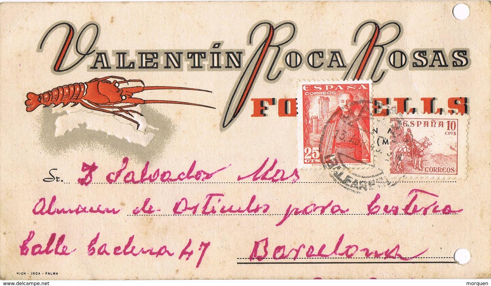 33381. Tarjeta Privada FORNELLS (Baleares) 1949. Langosta. Fechador De MAHON - 1931-50 Lettres