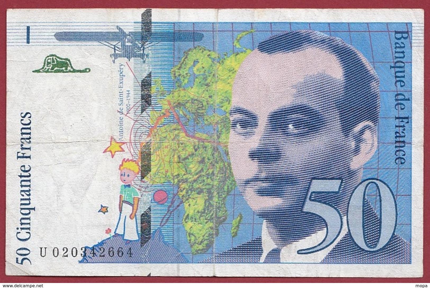 """50 Francs """"St Exupéry"""" 1994---F/TTB+----n°U 020342664 - 50 F 1992-1999 ''St Exupéry''"""