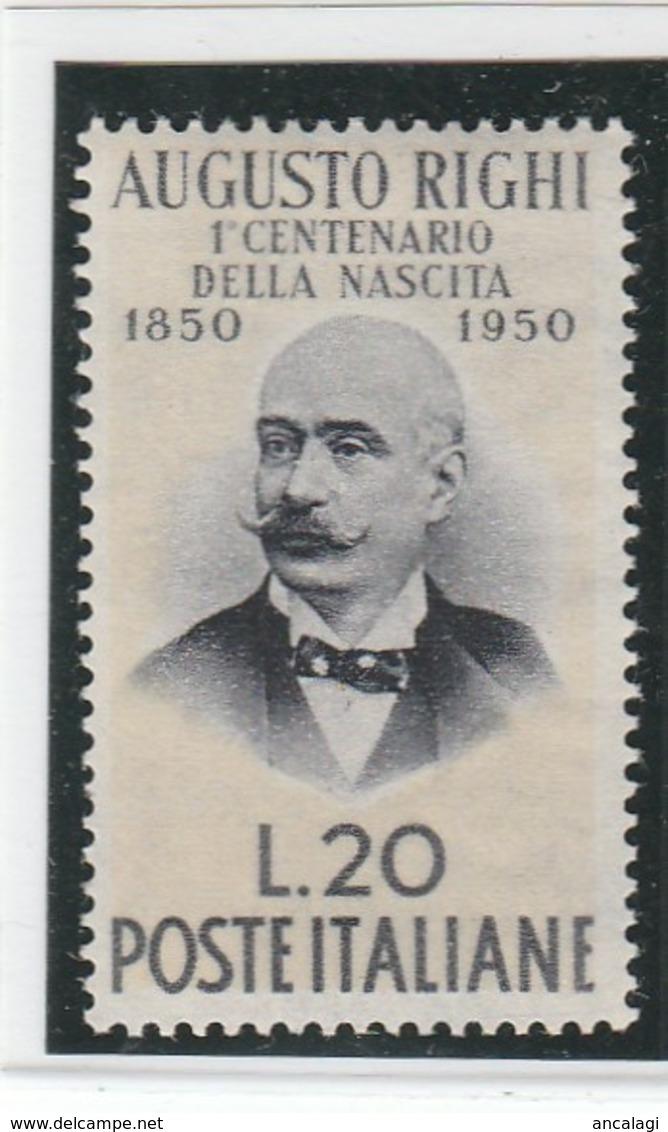 """FR.NU.0038 - REPUBBLICA 1950 - """"A. RIGHI"""" 1 V. Nuovo** - 6. 1946-.. Republic"""