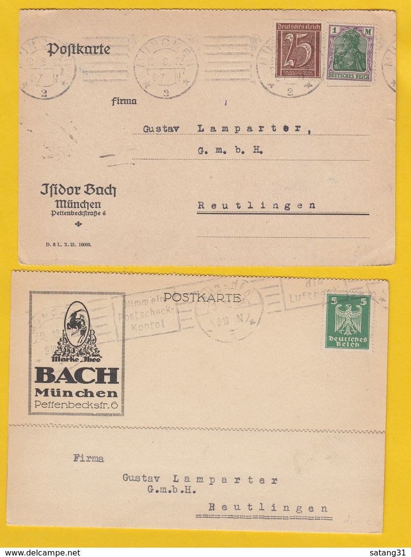 ISIDOR BACH,MÜNCHEN.2 KARTEN. - Briefe U. Dokumente