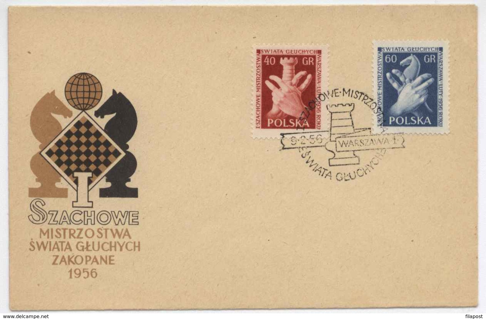 Poland 1956 Chess Deaf Championship / Schachmeisterschaft Tauben FDC With Occas. Cancel H305 - Ajedrez