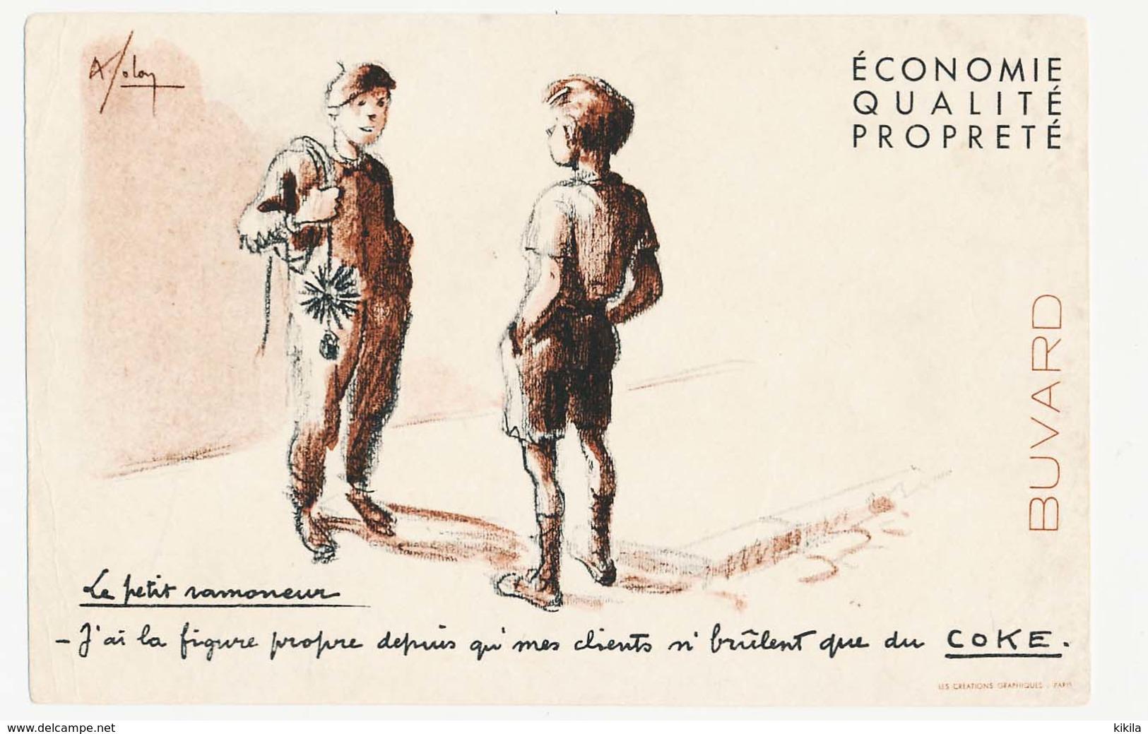 Buvard 21 X 13.5 Le Petit Ramoneur A La Figure Propre Grâce Au COKE  Illustrateur A. Folon (?) - Carte Assorbenti
