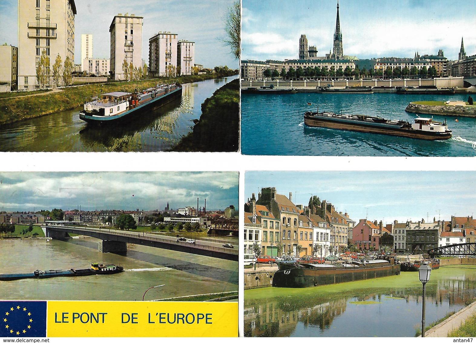 Lot De 4 Cartes Avec Péniche Sur Canal / Chelles, Rouen, Pont De L'Europe, Dunkerque - Hausboote