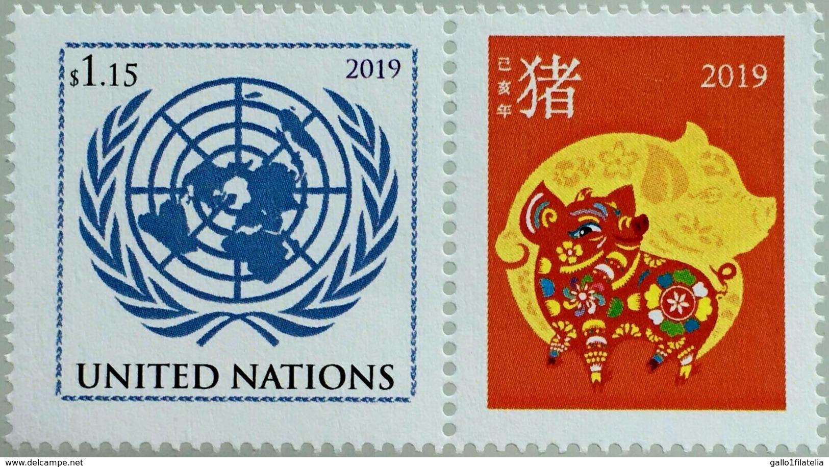 2019 - O.N.U. / UNITED NATIONS - NEW YORK - FRANCOBOLLO DA FOGLIO DI FRANCOBOLLI PERSONALIZZATI - ANNO DEL MAIALE. MNH - Nuovi