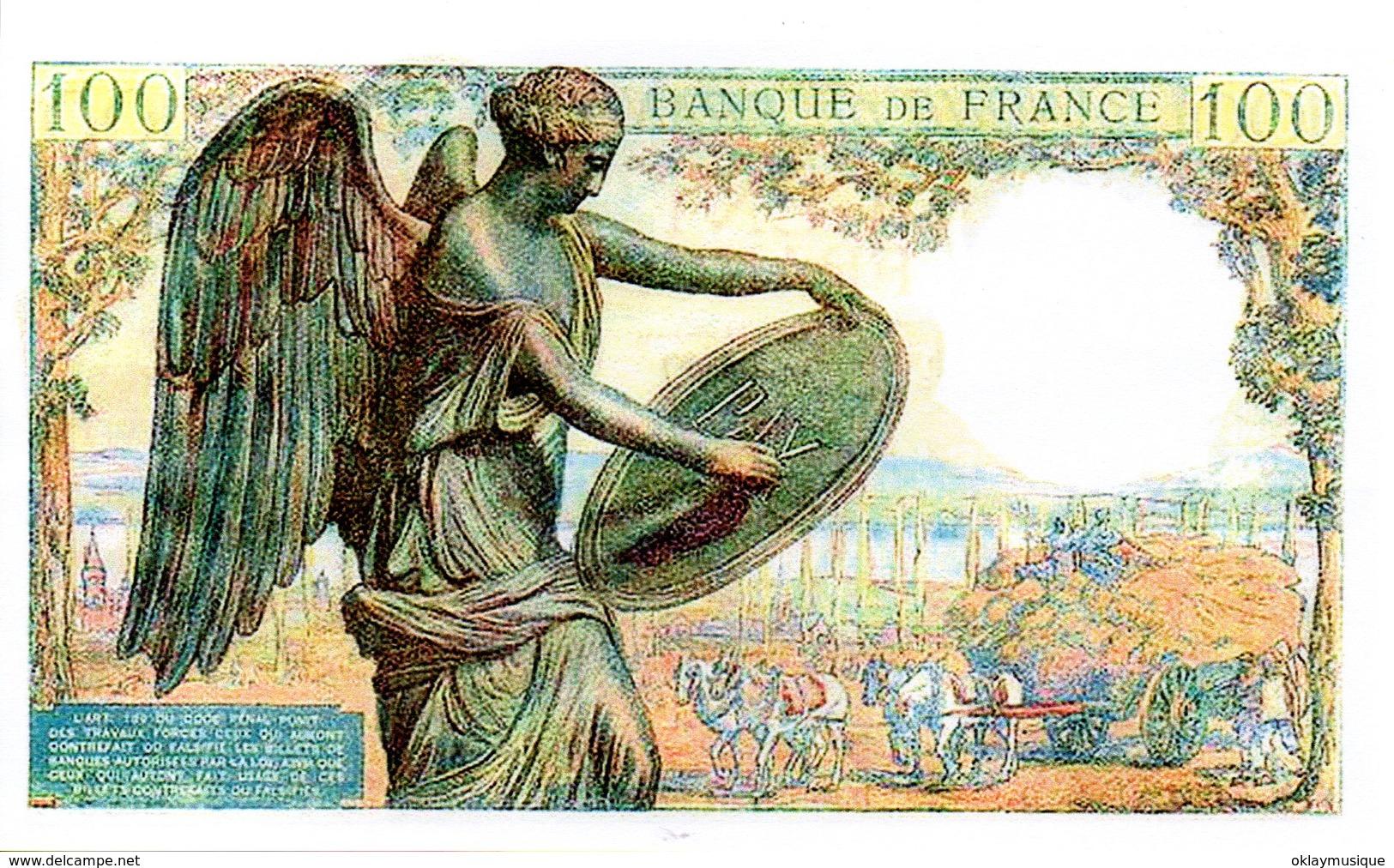 Reproduction Du Billet - 100 F 1942-1944 ''Descartes''