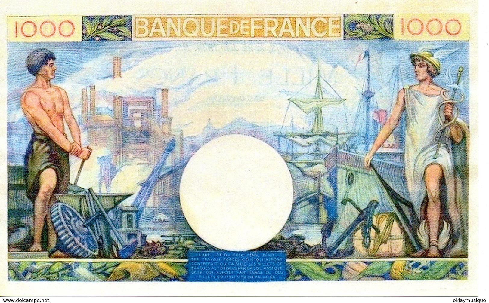 Reproduction Du Billet - 1 000 F 1940-1944 ''Commerce Et Industrie''