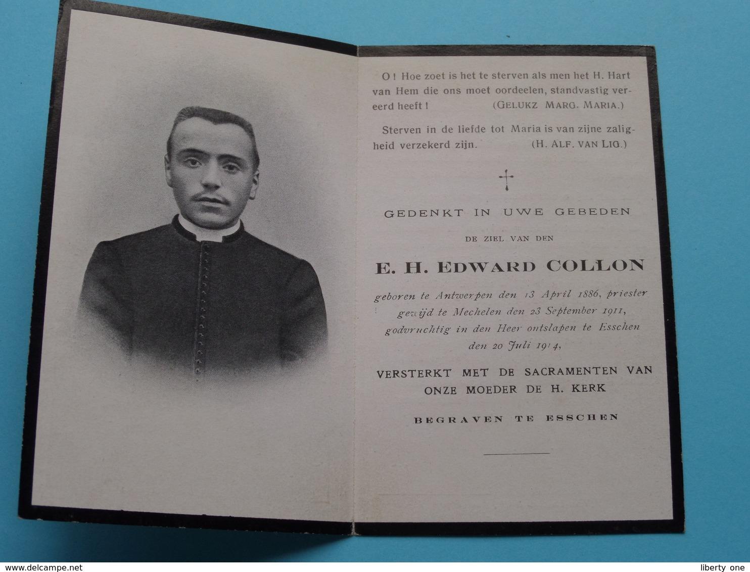 DP E.H. Edward COLLON () Antwerpen 13 April 1886 - Esschen 20 Juli 1914 ( Zie / Voir Photo ) ! - Obituary Notices