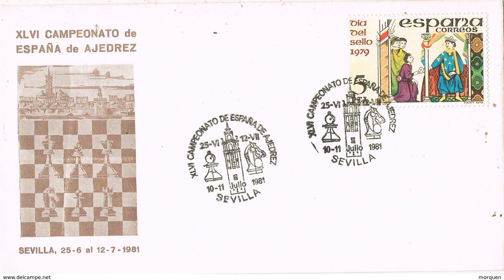 33388. Carta SEVILLA 1981. Campeonato España Ajedrez, Chess - 1931-Hoy: 2ª República - ... Juan Carlos I