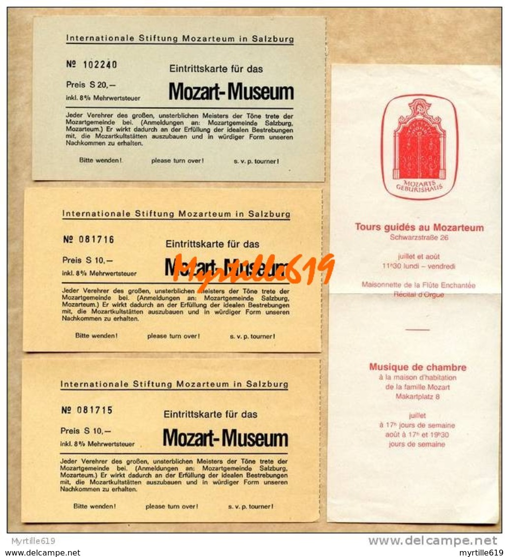 Mozart -  Musée Mozart - Salzburg - Trois Billets D'entrée + Pub - Eintrittskarten