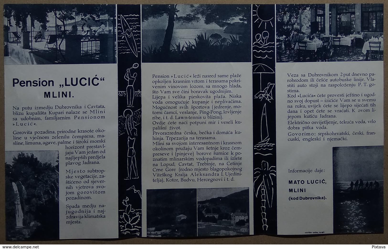 CROATIA - MLINI DUBROVNIK - PENSION LUCIC Publicité Pubblicità FOLDER BROCHURE GUIDE - Reiseprospekte
