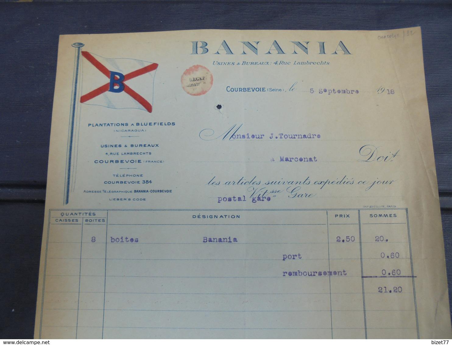 COURBEVOIE, 1918 - BANANIA - DECO - FACTURETTE - France